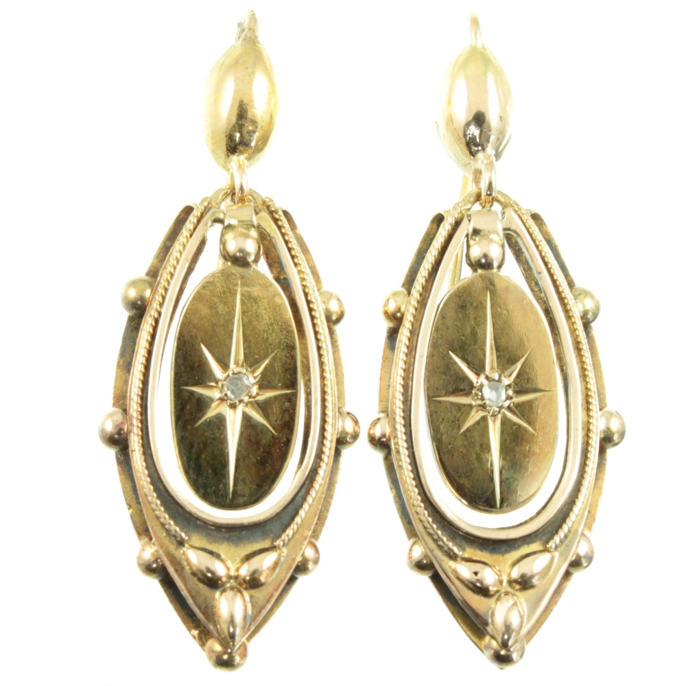 Victorian 9ct Gold Diamond Earrings