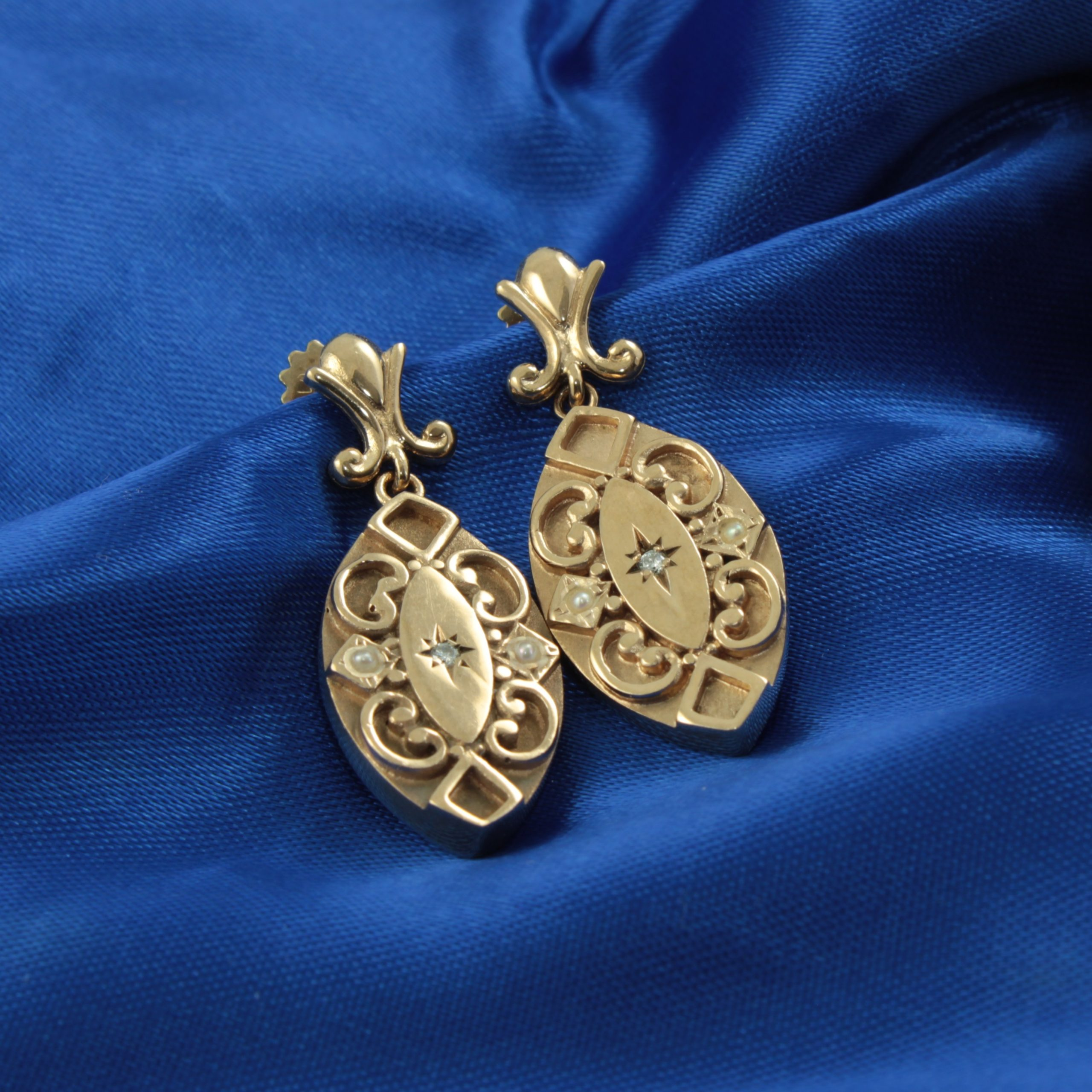 Victorian Gold and Diamond Earrings