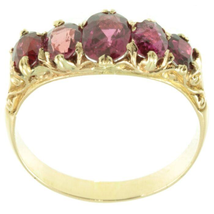 Edwardian five stone ruby ring
