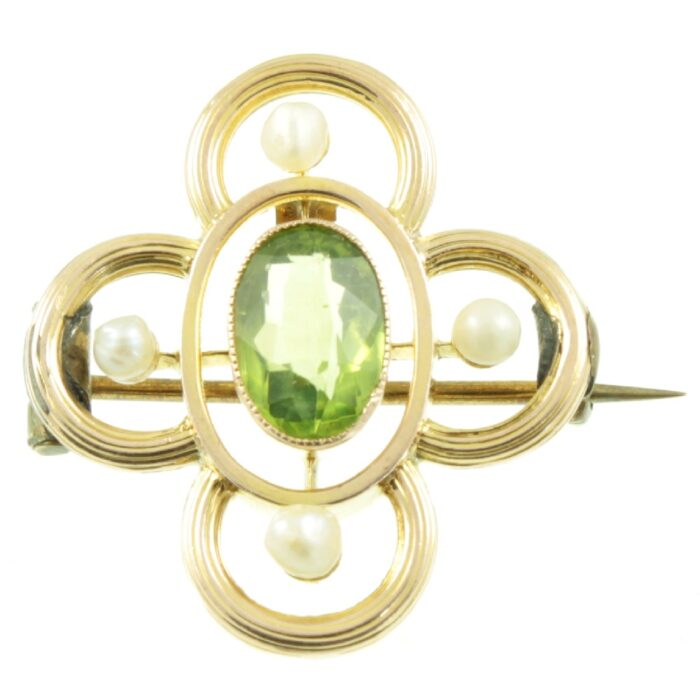 Edwardian 9ct gold, Peridot and Pearl brooch