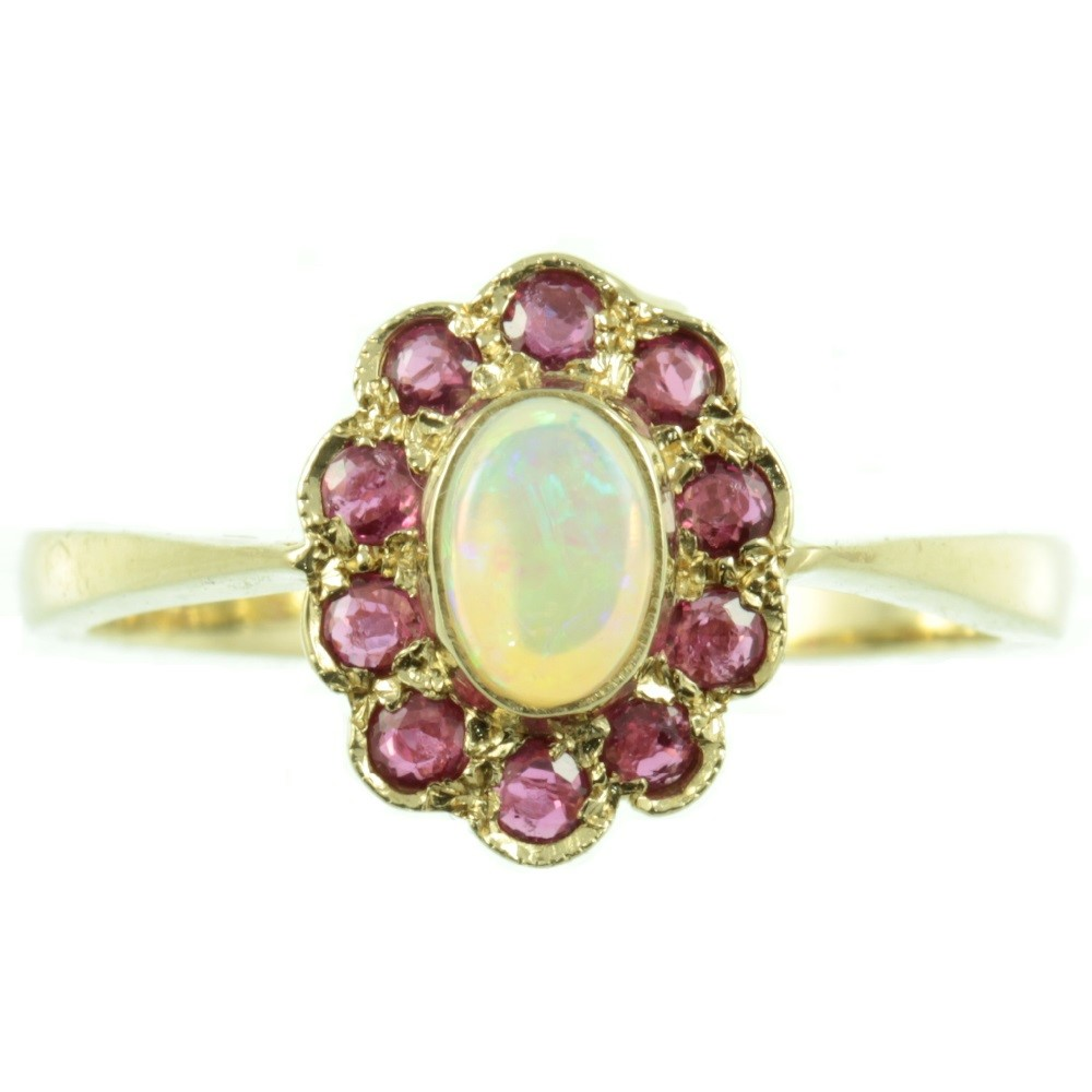 9ct Gold Opal and Ruby Cluster ring