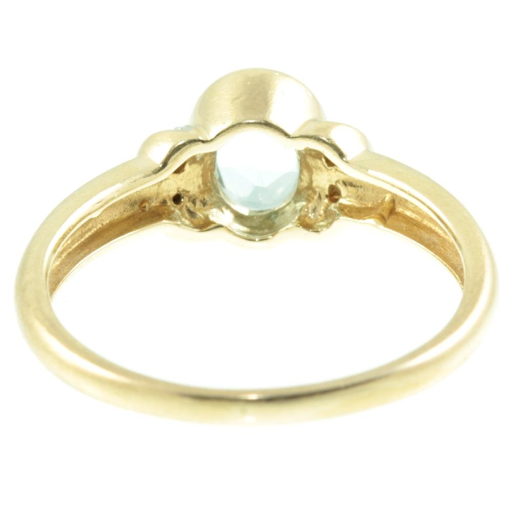 9ct gold aquamarine and diamond ring