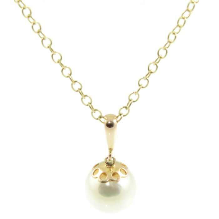 9ct gold pearl pendant necklace